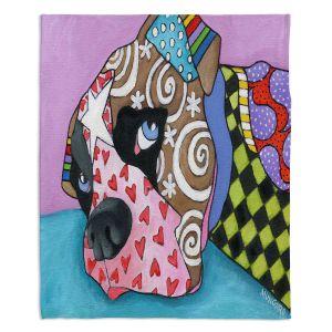 Decorative Fleece Throw Blankets | Marley Ungaro - Sad Boxer Dog | Dog animal pattern abstract whimsical