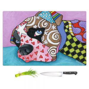 Artistic Kitchen Bar Cutting Boards | Marley Ungaro - Sad Boxer Dog | Dog animal pattern abstract whimsical