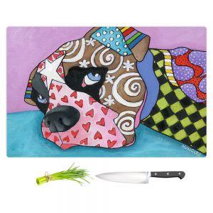 Artistic Kitchen Bar Cutting Boards | Marley Ungaro - Sad Boxer Dog | Dog animal pattern abstract whimsical