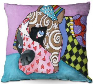 Decorative Outdoor Patio Pillow Cushion | Marley Ungaro - Sad Boxer Dog | Dog animal pattern abstract whimsical