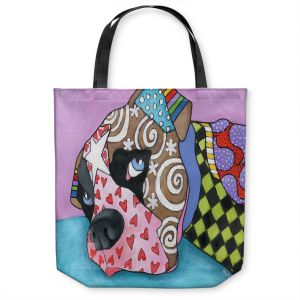 Unique Shoulder Bag Tote Bags | Marley Ungaro - Sad Boxer Dog | Dog animal pattern abstract whimsical
