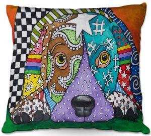 Decorative Outdoor Patio Pillow Cushion | Marley Ungaro - Sad Chocolate Lab | dog collage pattern quilt