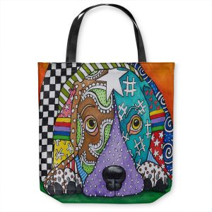 Unique Shoulder Bag Tote Bags | Marley Ungaro - Sad Chocolate Lab | dog collage pattern quilt