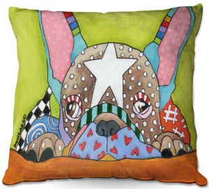 Decorative Outdoor Patio Pillow Cushion | Marley Ungaro - Sad French Bulldog | Dog animal pattern abstract whimsical