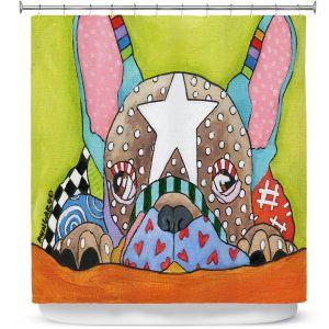 Premium Shower Curtains | Marley Ungaro - Sad French Bulldog | Dog animal pattern abstract whimsical