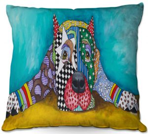 Throw Pillows Decorative Artistic | Marley Ungaro - Sad Pitbull Sprawled | dog collage pattern quilt