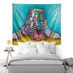 Artistic Wall Tapestry   Marley Ungaro - Sad Pitbull Sprawled   dog collage pattern quilt