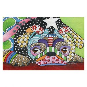 Decorative Floor Covering Mats | Marley Ungaro - Sad Pug Dog | Dog animal pattern abstract whimsical