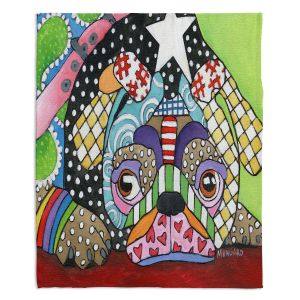 Decorative Fleece Throw Blankets   Marley Ungaro - Sad Pug Dog   Dog animal pattern abstract whimsical