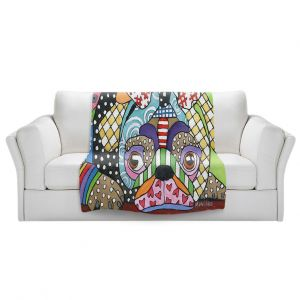 Artistic Sherpa Pile Blankets   Marley Ungaro - Sad Pug Dog   Dog animal pattern abstract whimsical