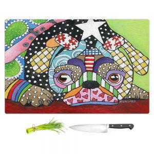 Artistic Kitchen Bar Cutting Boards | Marley Ungaro - Sad Pug Dog | Dog animal pattern abstract whimsical
