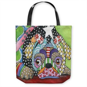 Unique Shoulder Bag Tote Bags   Marley Ungaro - Sad Pug Dog   Dog animal pattern abstract whimsical
