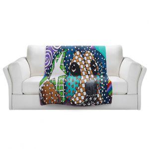 Artistic Sherpa Pile Blankets   Marley Ungaro - Sad Rottie   dog collage pattern quilt