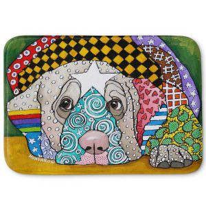 Decorative Bathroom Mats | Marley Ungaro - Sad Yellow Lab | dog collage pattern quilt