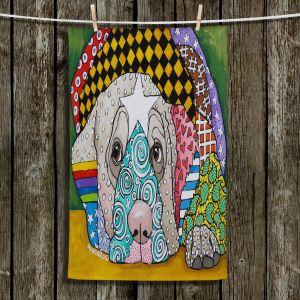 Unique Bathroom Towels | Marley Ungaro - Sad Yellow Lab | dog collage pattern quilt
