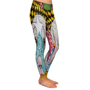 Casual Comfortable Leggings | Marley Ungaro - Sad Yellow Lab | dog collage pattern quilt