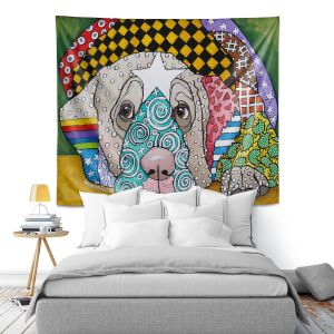 Artistic Wall Tapestry   Marley Ungaro - Sad Yellow Lab   dog collage pattern quilt