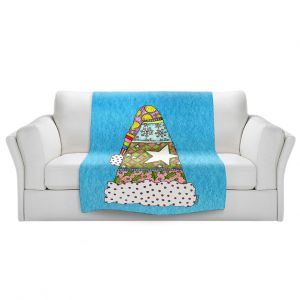 Artistic Sherpa Pile Blankets   Marley Ungaro - Santa Hat Aqua   Santa Hat Holidays Christmas