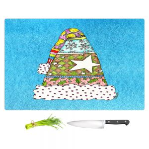 Artistic Kitchen Bar Cutting Boards | Marley Ungaro - Santa Hat Aqua | Santa Hat Holidays Christmas