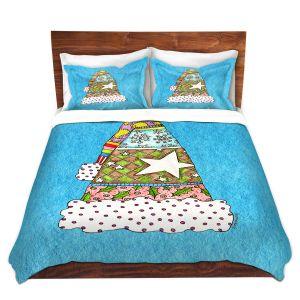 Artistic Duvet Covers and Shams Bedding | Marley Ungaro - Santa Hat Aqua | Santa Hat Holidays Christmas