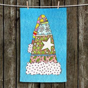 Unique Hanging Tea Towels | Marley Ungaro - Santa Hat Aqua | Santa Hat Holidays Christmas