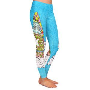 Casual Comfortable Leggings | Marley Ungaro - Santa Hat Aqua | Santa Hat Holidays Christmas