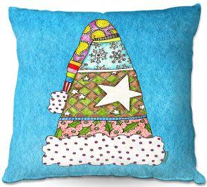 Decorative Outdoor Patio Pillow Cushion | Marley Ungaro - Santa Hat Aqua | Santa Hat Holidays Christmas