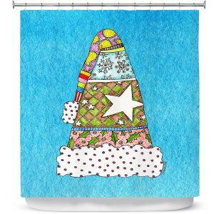 Premium Shower Curtains | Marley Ungaro - Santa Hat Aqua | Santa Hat Holidays Christmas