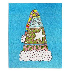 Decorative Fleece Throw Blankets | Marley Ungaro - Santa Hat Aqua | Santa Hat Holidays Christmas