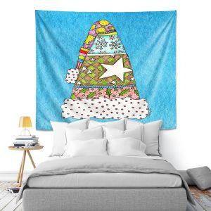 Artistic Wall Tapestry | Marley Ungaro - Santa Hat Aqua | Santa Hat Holidays Christmas