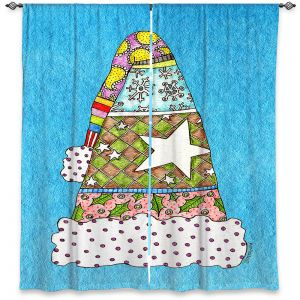 Decorative Window Treatments | Marley Ungaro - Santa Hat Aqua | Santa Hat Holidays Christmas