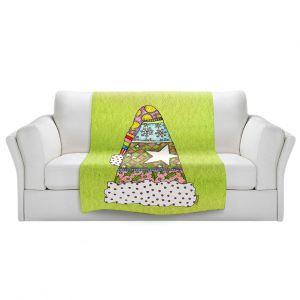 Artistic Sherpa Pile Blankets   Marley Ungaro - Santa Hat Lime   Santa Hat Holidays Christmas