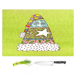 Artistic Kitchen Bar Cutting Boards | Marley Ungaro - Santa Hat Lime | Santa Hat Holidays Christmas