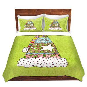 Artistic Duvet Covers and Shams Bedding | Marley Ungaro - Santa Hat Lime | Santa Hat Holidays Christmas