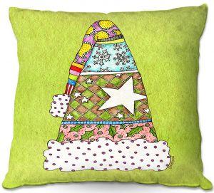 Decorative Outdoor Patio Pillow Cushion | Marley Ungaro - Santa Hat Lime | Santa Hat Holidays Christmas