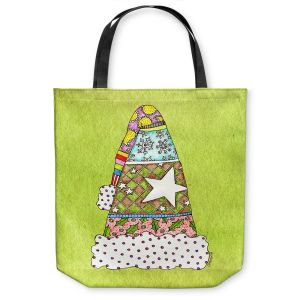 Unique Shoulder Bag Tote Bags | Marley Ungaro - Santa Hat Lime | Santa Hat Holidays Christmas