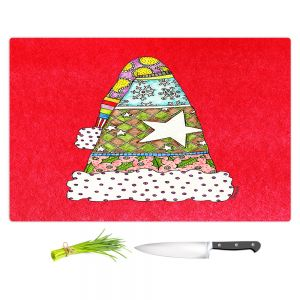 Artistic Kitchen Bar Cutting Boards | Marley Ungaro - Santa Hat Red | Santa Hat Holidays Christmas