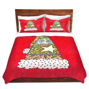 Artistic Duvet Covers and Shams Bedding | Marley Ungaro - Santa Hat Red | Santa Hat Holidays Christmas
