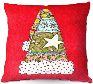 Decorative Outdoor Patio Pillow Cushion | Marley Ungaro - Santa Hat Red | Santa Hat Holidays Christmas
