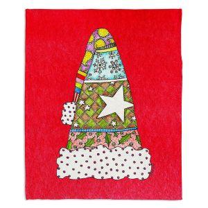 Decorative Fleece Throw Blankets | Marley Ungaro - Santa Hat Red | Santa Hat Holidays Christmas