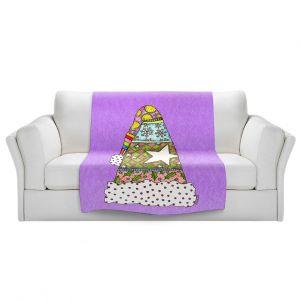 Artistic Sherpa Pile Blankets   Marley Ungaro - Santa Hat Violet   Santa Hat Holidays Christmas