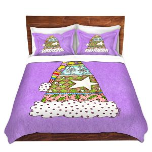 Artistic Duvet Covers and Shams Bedding | Marley Ungaro - Santa Hat Violet | Santa Hat Holidays Christmas