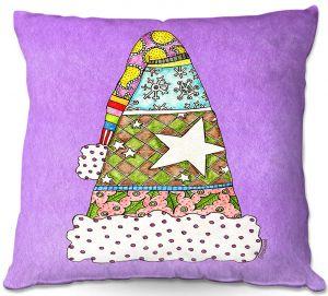 Decorative Outdoor Patio Pillow Cushion | Marley Ungaro - Santa Hat Violet | Santa Hat Holidays Christmas