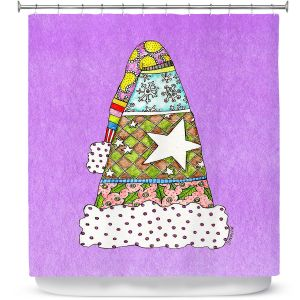 Premium Shower Curtains | Marley Ungaro - Santa Hat Violet | Santa Hat Holidays Christmas