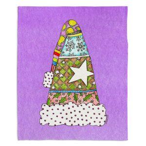 Decorative Fleece Throw Blankets | Marley Ungaro - Santa Hat Violet | Santa Hat Holidays Christmas