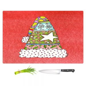 Artistic Kitchen Bar Cutting Boards | Marley Ungaro - Santa Hat Watermelon | Santa Hat Holidays Christmas