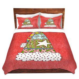 Artistic Duvet Covers and Shams Bedding | Marley Ungaro - Santa Hat Watermelon | Santa Hat Holidays Christmas