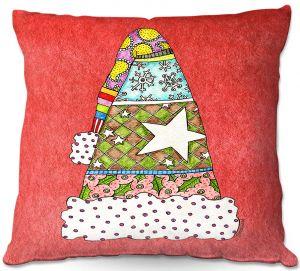 Throw Pillows Decorative Artistic | Marley Ungaro - Santa Hat Watermelon | Santa Hat Holidays Christmas