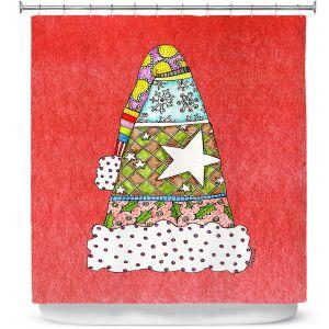 Premium Shower Curtains | Marley Ungaro - Santa Hat Watermelon | Santa Hat Holidays Christmas