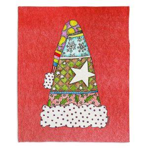 Decorative Fleece Throw Blankets | Marley Ungaro - Santa Hat Watermelon | Santa Hat Holidays Christmas